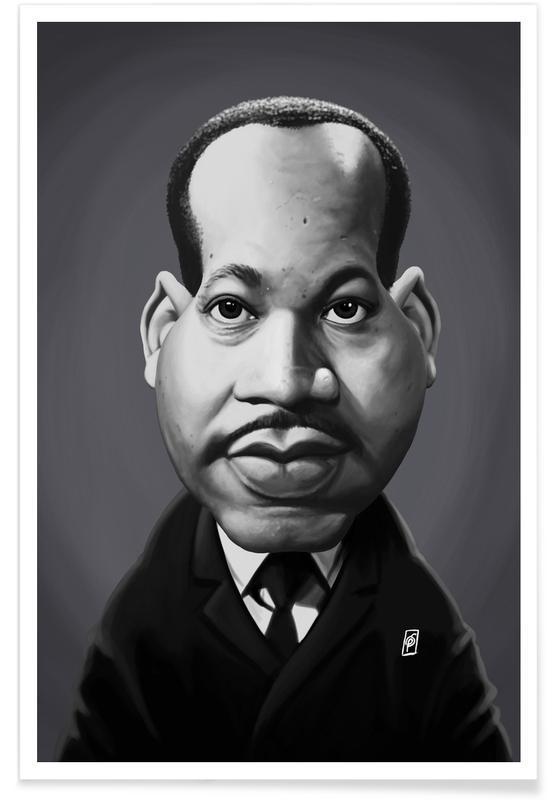Zwart en wit, Politieke figuren, Portretten, Martin Luther King - karikatuur poster