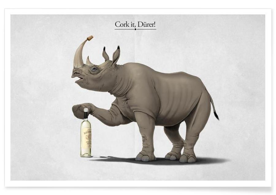 Rhinocéros, Cork it, Dürer! (titled) affiche