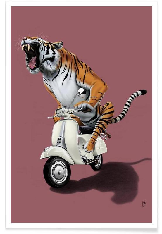Art pour enfants, Tigres, Rooooaaar! (colored) affiche
