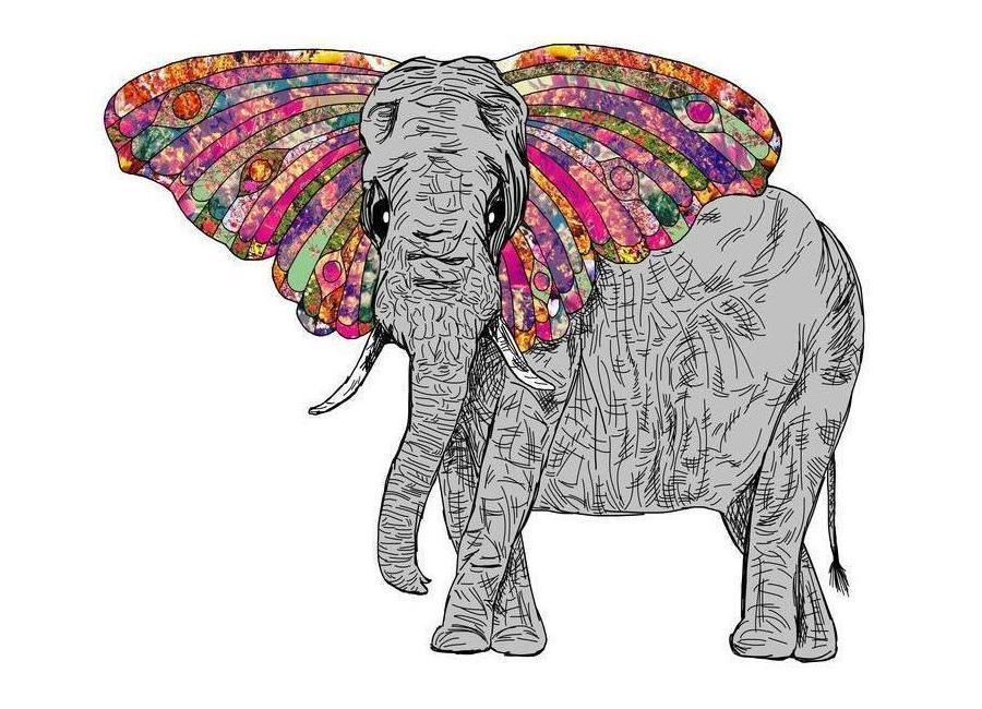 Bella the happy butterphant canvas doek