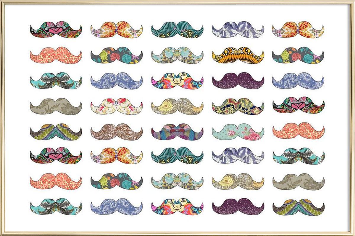 Mustache Mania Poster in Aluminium Frame