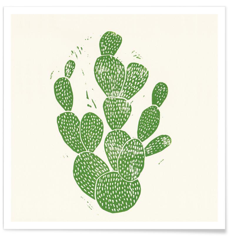 Cacti, Linocut Cacti Poster