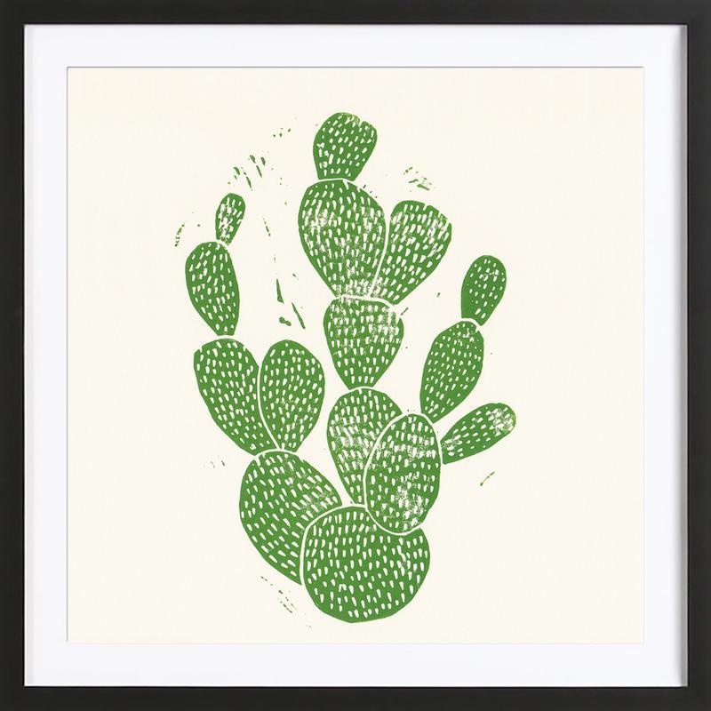 Linocut Cacti Framed Print