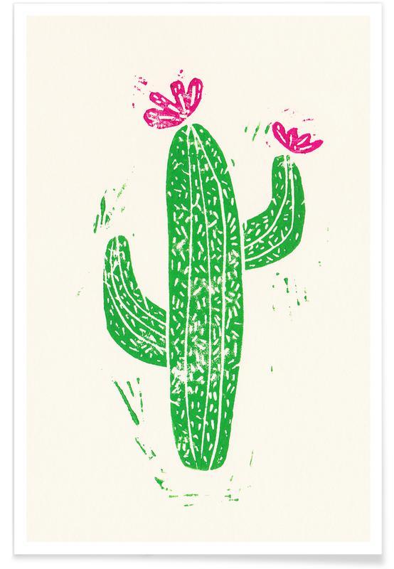 Kaktus, Cacti with Flower -Poster