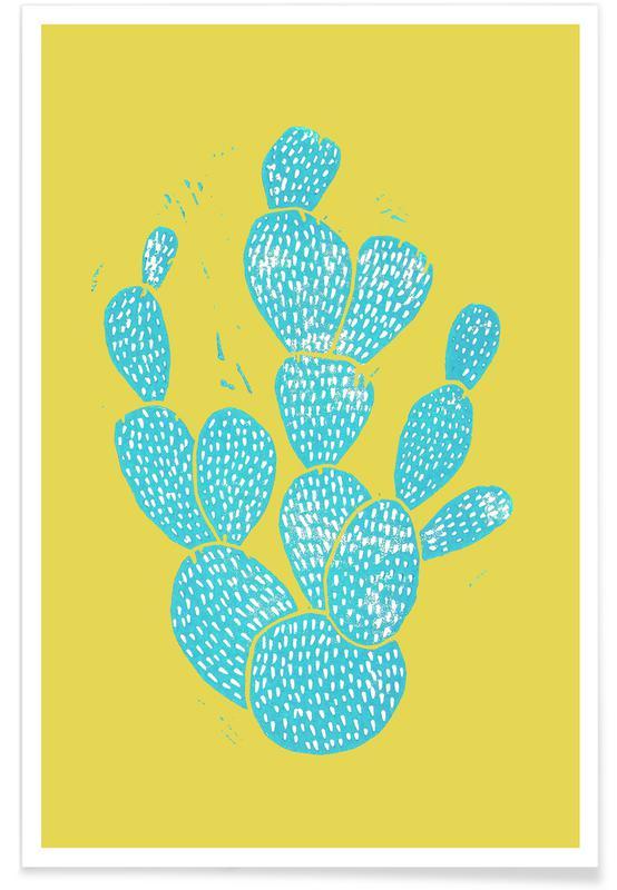 Cacti, Linocut Cacti Desert Blue Poster