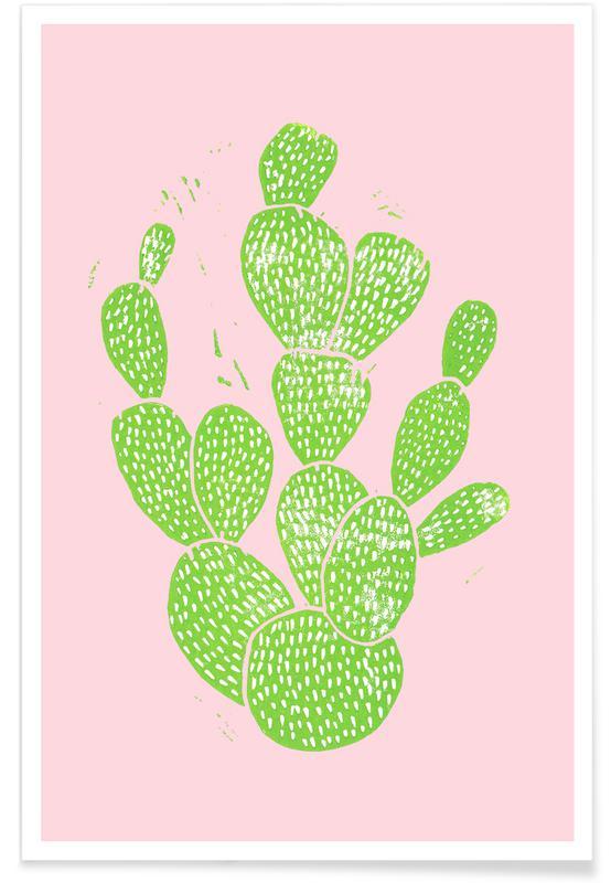 Kaktus, Linocut Cacti Minty Pink -Poster