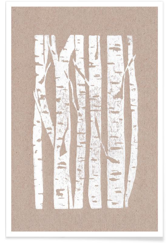 , Woodcut Birches -Poster