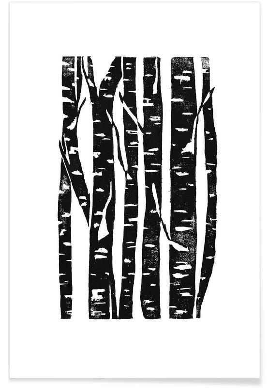 Schwarz & Weiß, Woodcut Birches Black -Poster