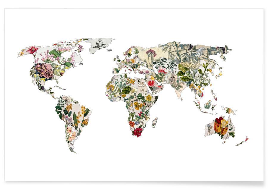San Francisco, Lisbonne, Cartes du monde, Tokyo, New York, Vintage Botanical World affiche
