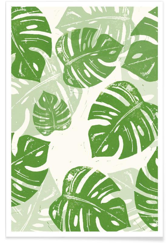 Blätter & Pflanzen, Linocut Monstera -Poster