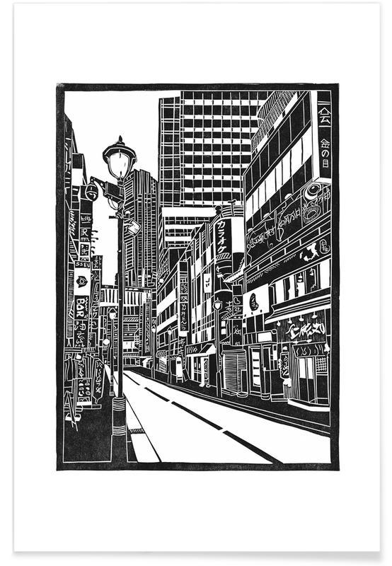 Noir & blanc, Tokyo, Tokyo Shibuya Blockprint affiche