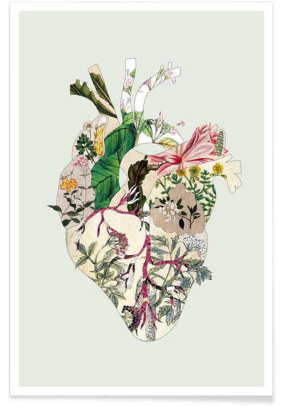 Tokio, San Francisco, Herzen, New York, Lissabon, Vintage Botanical Heart X Green Preview -Poster