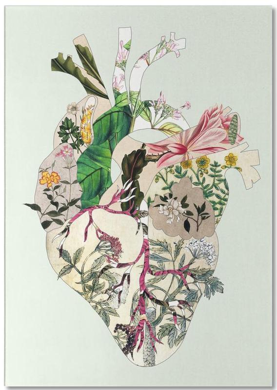 San Francisco, Lissabon, Harten, Tokyo, New York, Vintage Botanical Heart X Green Preview notitieblok
