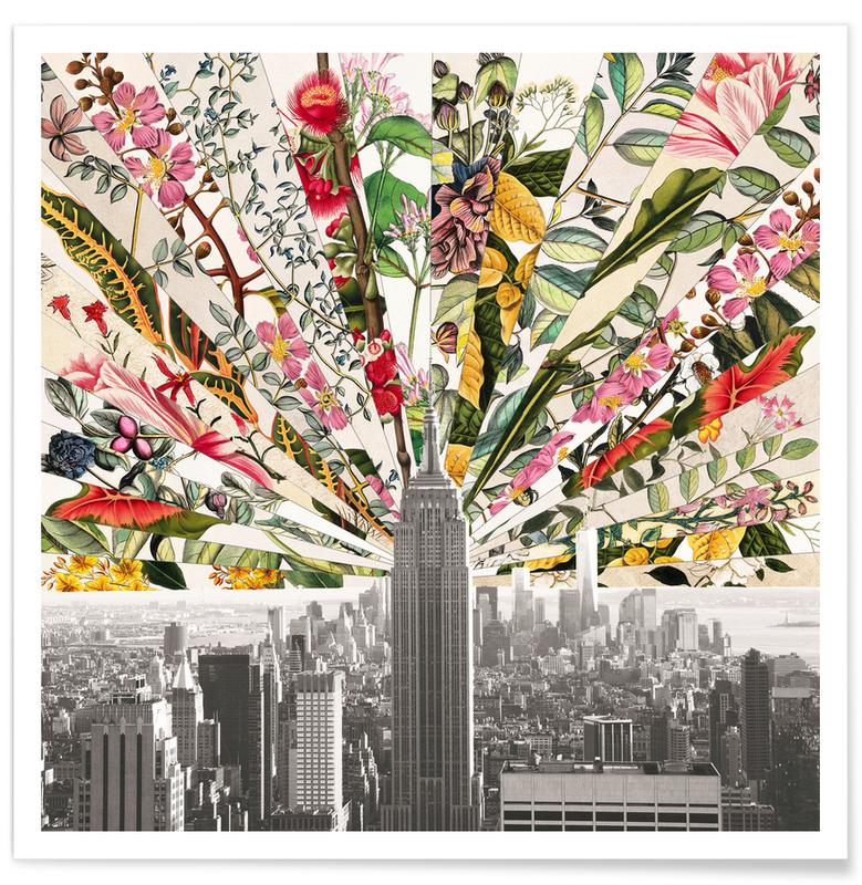 New York, Vintage Blooming New York -Poster