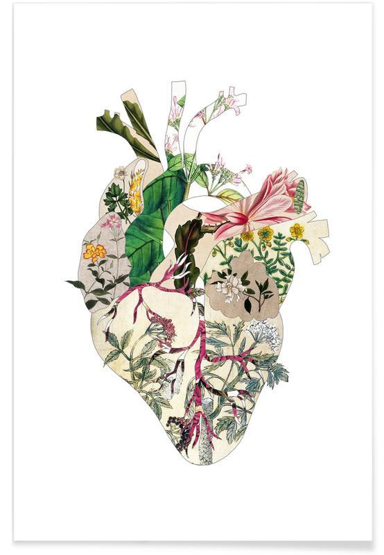 Cœurs, Vintage Botanical Heart affiche