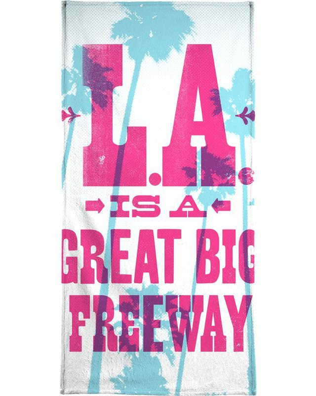 Lyrics, LA IS A GREAT BIG FREEWAY Bath Towel