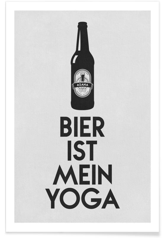 Bière, Noir & blanc, Citations et slogans, Bier Ist Mein Yoga affiche