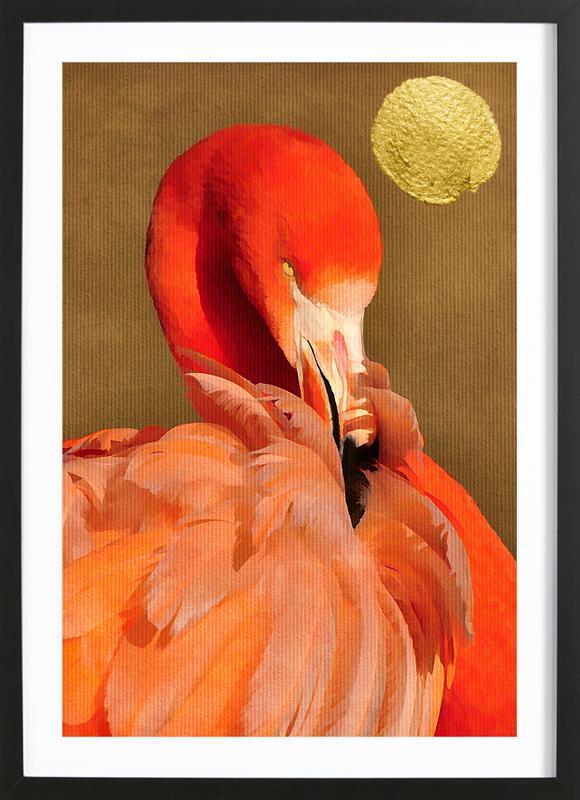Flamingo with Golden Sun Framed Print