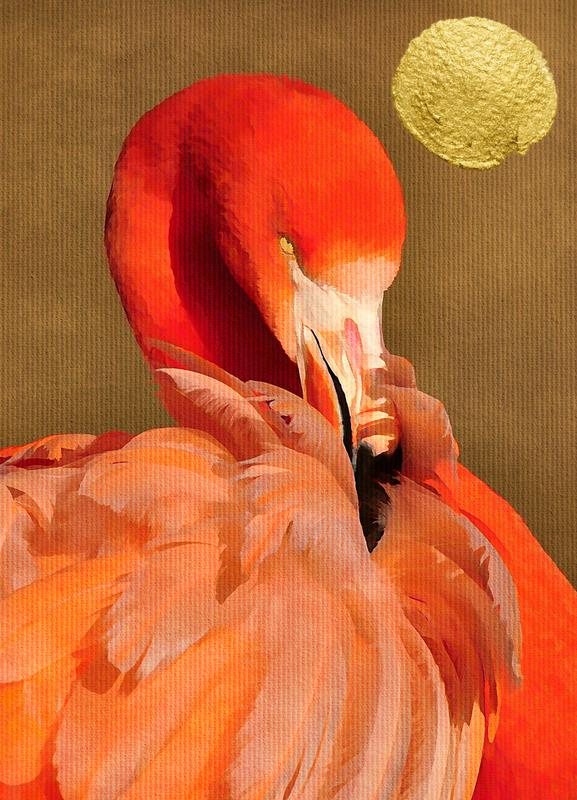 Flamingo with Golden Sun Canvas Print
