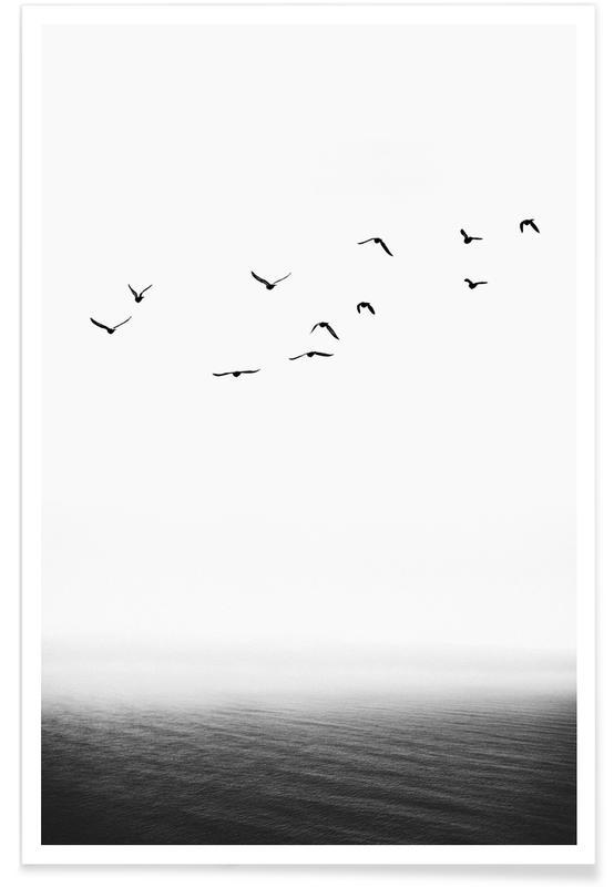 Ocean, Lake & Seascape, Black & White, Forever Free Poster