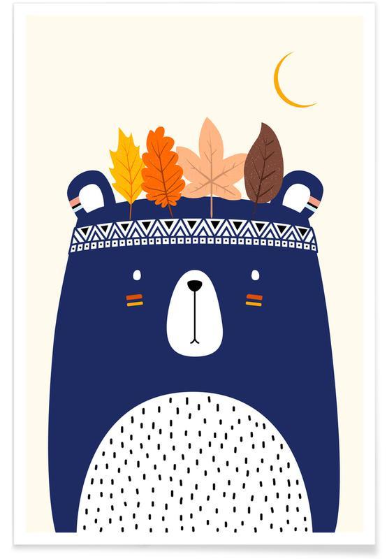 Bjørne, Børneværelse & kunst for børn, Little Braveheart Plakat