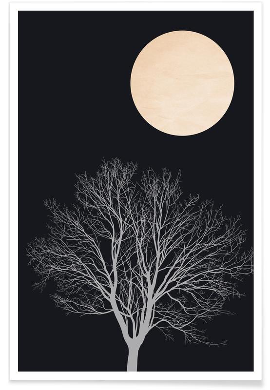 Arbres, Noir & blanc, Midnight Lovers affiche