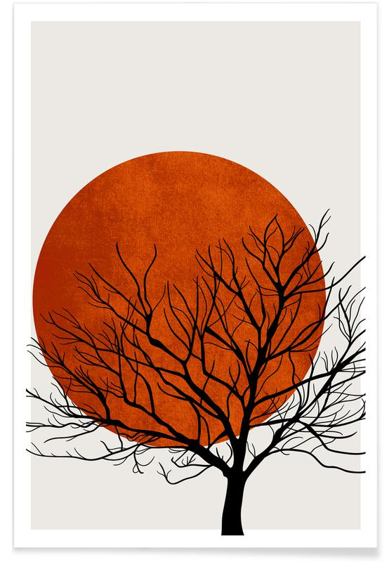 Trees, Sunsets, Winter Sunset Poster