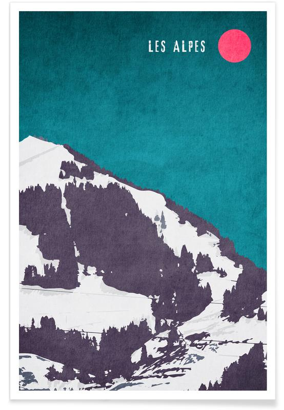 Montagnes, Les Alpes affiche