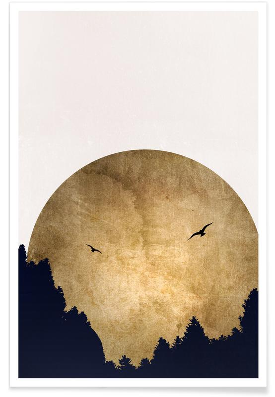 Abstracte landschappen, Two Birds Gold poster