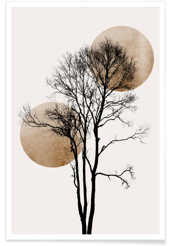 , Sun And Moon Hiding Gold Poster