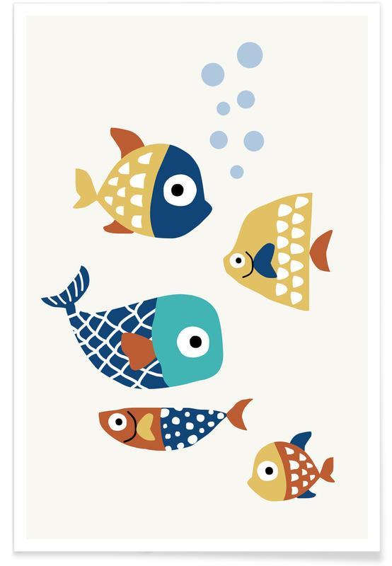 Nursery & Art for Kids, Fish, Little Friends Poster