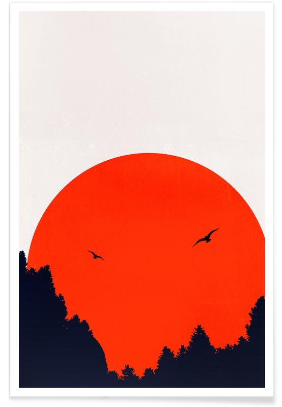 Abstrakte Landschaften, Two Birds Red -Poster