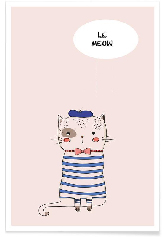 Katten, Kunst voor kinderen, Le Meow poster