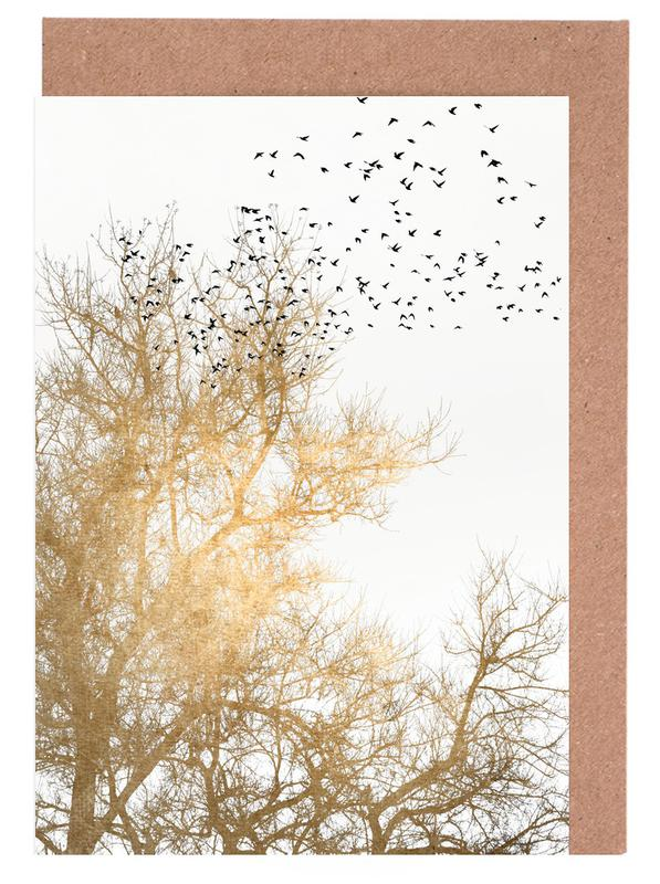 Bäume, Golden Skies -Grußkarten-Set