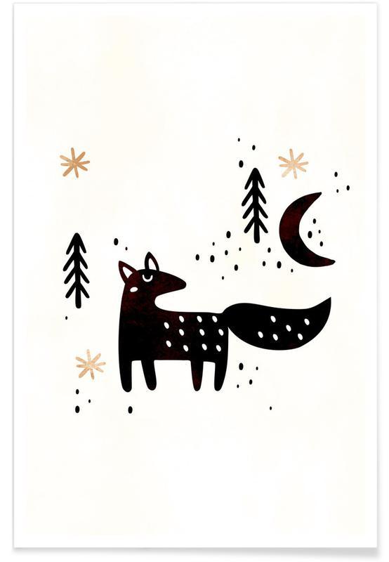 Vossen, Kunst voor kinderen, Little Winter Fox poster