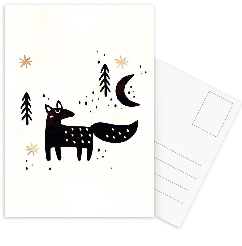 Renards, Art pour enfants, Little Winter Fox cartes postales