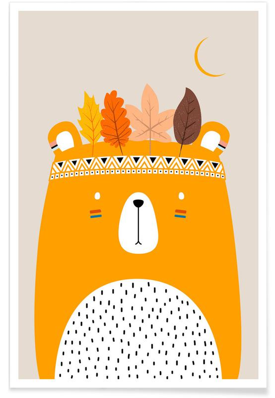Beren, Kunst voor kinderen, Cute Little Bear Yellow poster