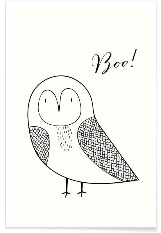 Zwart en wit, Kunst voor kinderen, Uilen, Boo Owl poster