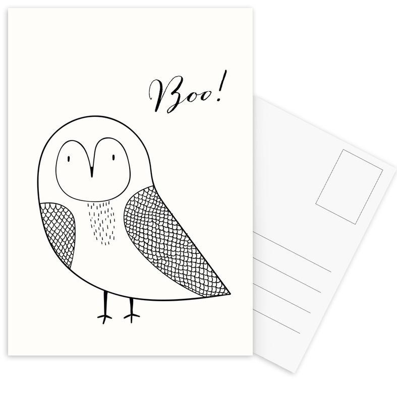 Chouettes, Noir & blanc, Art pour enfants, Boo Owl cartes postales
