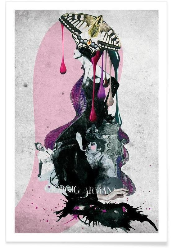 Illustrations de mode, giorgio armani affiche