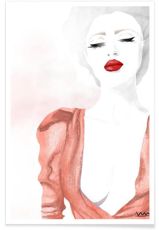 Illustrations de mode, red lips affiche