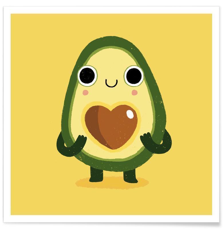 Kunst voor kinderen, Grappig, Avocado's, Luvocado poster