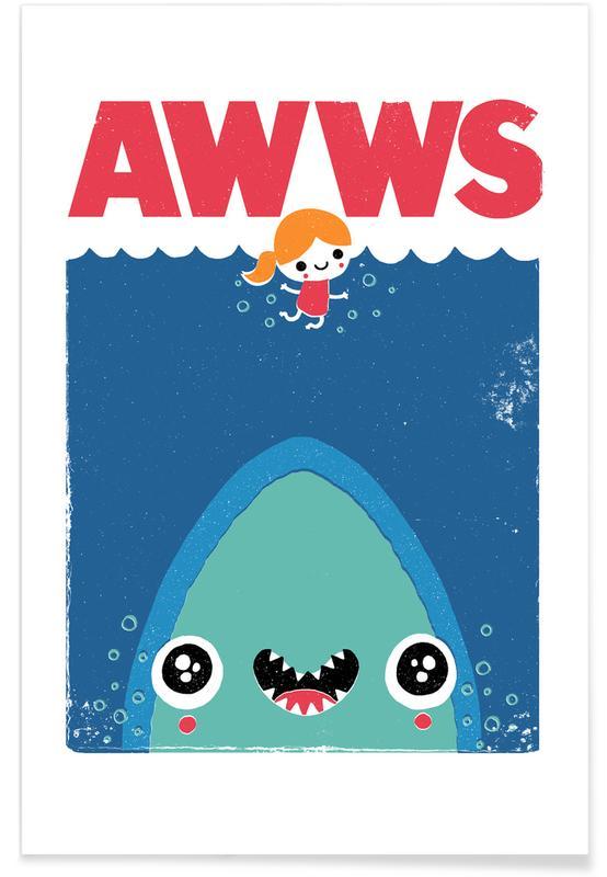 Haaien, Kunst voor kinderen, Grappig, Awws poster