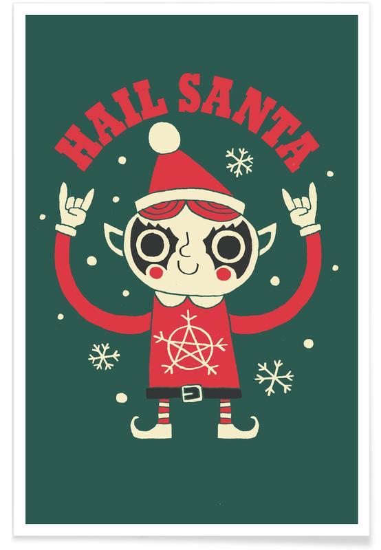 Grappig, Kerst, Hail Santa poster
