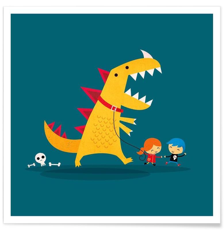 Dinosaurussen, Kunst voor kinderen, Grappig, Dino Walk poster