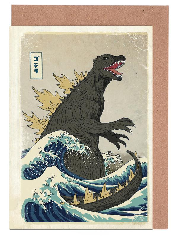 , The Great Godzilla off Kanagawa Greeting Card Set
