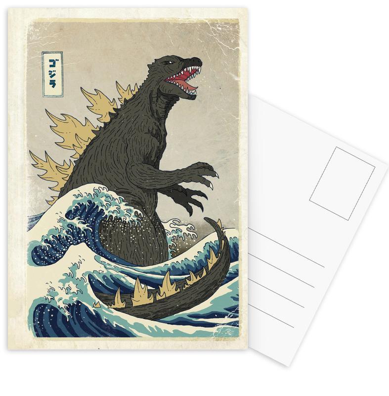 The Great Godzilla off Kanagawa Postcard Set