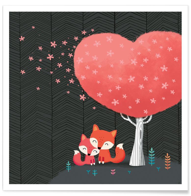 Art pour enfants, Renards, Cœurs, Foxes with Blossom affiche