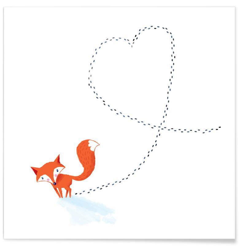 Art pour enfants, Renards, Cœurs, Foxy Love affiche