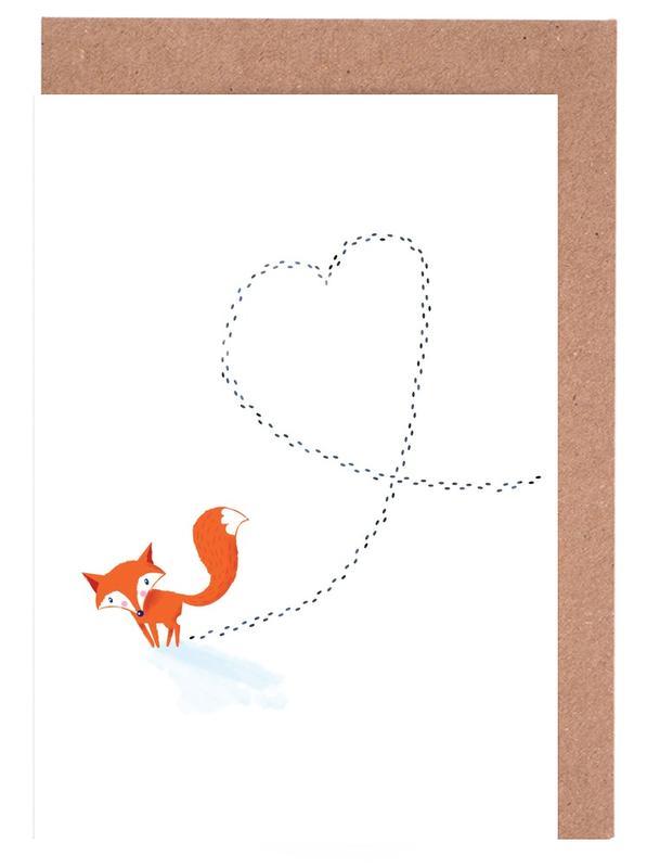 Füchse, Kinderzimmer & Kunst für Kinder, Herzen, Foxy Love -Grußkarten-Set